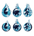 water wave line in moon shape color set vector image vector image
