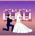 wedding couple in restaurant with newly married vector image vector image