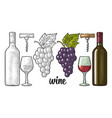 wine set bottle glass corkscrew bunch of vector image vector image