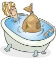 woman taking bath vector image