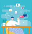 young man using laptop networking and social media vector image vector image
