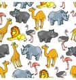 African jungle and safari animals cartoon pattern vector image
