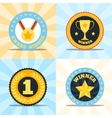Label flat winner set vector image