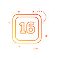 16 date calender icon design vector image vector image