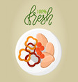 absolutely fresh organic food ingredients in bowl vector image