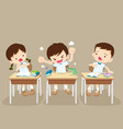 angry boy and friends in classroom vector image vector image