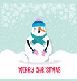 beautiful flat design christmas card snowman vector image vector image