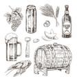 beer ingredients set and snack vector image