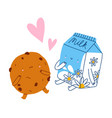 best friends milk and cookie cartoon characters vector image