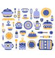 cartoon ceramic crockery kitchen cookware vector image