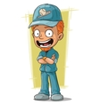 Cartoon redhead smiling baseball trainer vector image