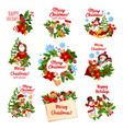 christmas and winter holidays festive badges vector image vector image