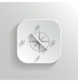 Compass icon - white app button vector image vector image