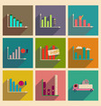 concept of flat icons with long shadow graphics vector image vector image