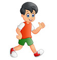 cute boy cartoon giving thumb up vector image