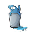 cute funny shark cartoon on water vector image vector image