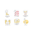 cute giraffe logo design templates abstract hand vector image vector image