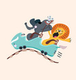 elephant lion and mouse on rollercoaster with vector image