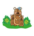 female bear with its sons animals and bushes vector image vector image