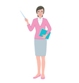 Female teacher with a pointer and a book vector image vector image