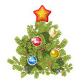 fir tree decorated with toy balls and star vector image