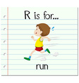 Flashcard alphabet R is for run vector image vector image
