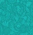 Floral pattern on green seamless background vector image