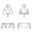 Front back and side views of blank bikini vector image vector image