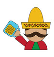 funny mexican man with hat and mustache with beer vector image vector image
