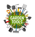 gardening tools equipment and green grass vector image