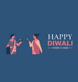 happy diwali indian women holding oil lamp candle vector image