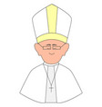 happy pope with glasses on white background vector image vector image