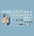 isometric office workplace set vector image