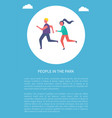 man and woman running together vector image vector image