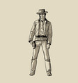 Man with cowboy hat and gun western gunfighter vector image