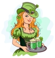 Patrick girl holding a tray of green beer vector image