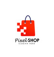 pixel shop logo design template shopping logo vector image vector image