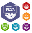pizza badge or signboard icons set hexagon vector image vector image