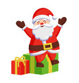 santa claus sitting on colorful gift boxes icon vector image vector image