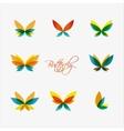 set colorful butterflies logos vector image