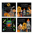 set halloween banner or card with scary vector image vector image