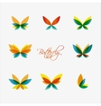 Set of colorful butterflies logos vector image vector image