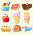 set of different types of sweets vector image