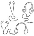 set of headphone and earpiece vector image vector image