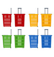 set plastic shopping baskets on white vector image