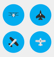 set simple aircraft icons vector image
