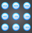 Shopping blue icons set - collection of sale vector image