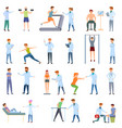 sports doctor icons set cartoon style vector image vector image