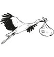 stork with baby bag vector image vector image