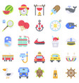 summer vacation related icon set 6 flat style vector image